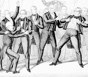 Cartoon depicting a duel in the Senate, 1850