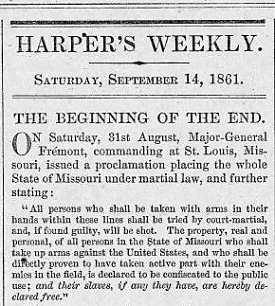 Periodical report of 1861 on Fremont's wartime emancipation