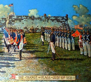 The changing of the flags in Florida, 1821