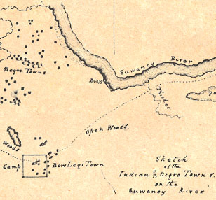 Sketch of Indian and Negro towns on the Suwannee River