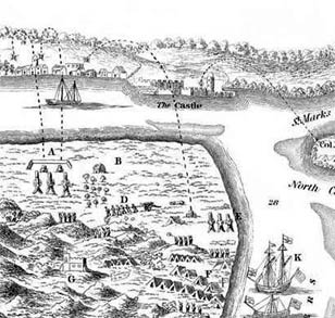 Detail from engraving of Oglethorpe's 1740 attack on St. Augustine