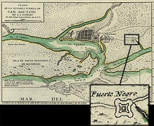 Detail of 1783 map showing position of Fort Mose