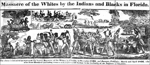 Massacre of the Whites by the Indians and Blacks in Florida, 1836 engraving