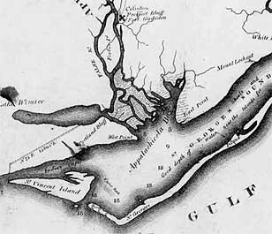 1821 Map showing mouth of the Appalachicola River