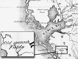 Map of Florida showing the Old Spanish Fields