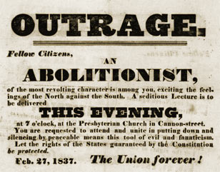 Handbill protesting speech by an abolitionist