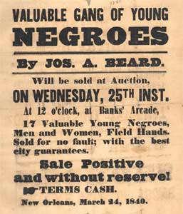 Ad for slave auction, 1840