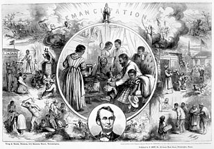 Engraving commemorating the Emancipation Proclamation