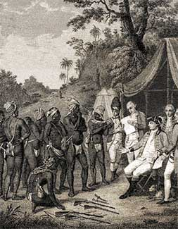 Jamaican maroons negotiating with the British