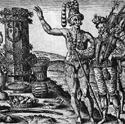 DeBry engraving of the Timucuas worshiping a French column
