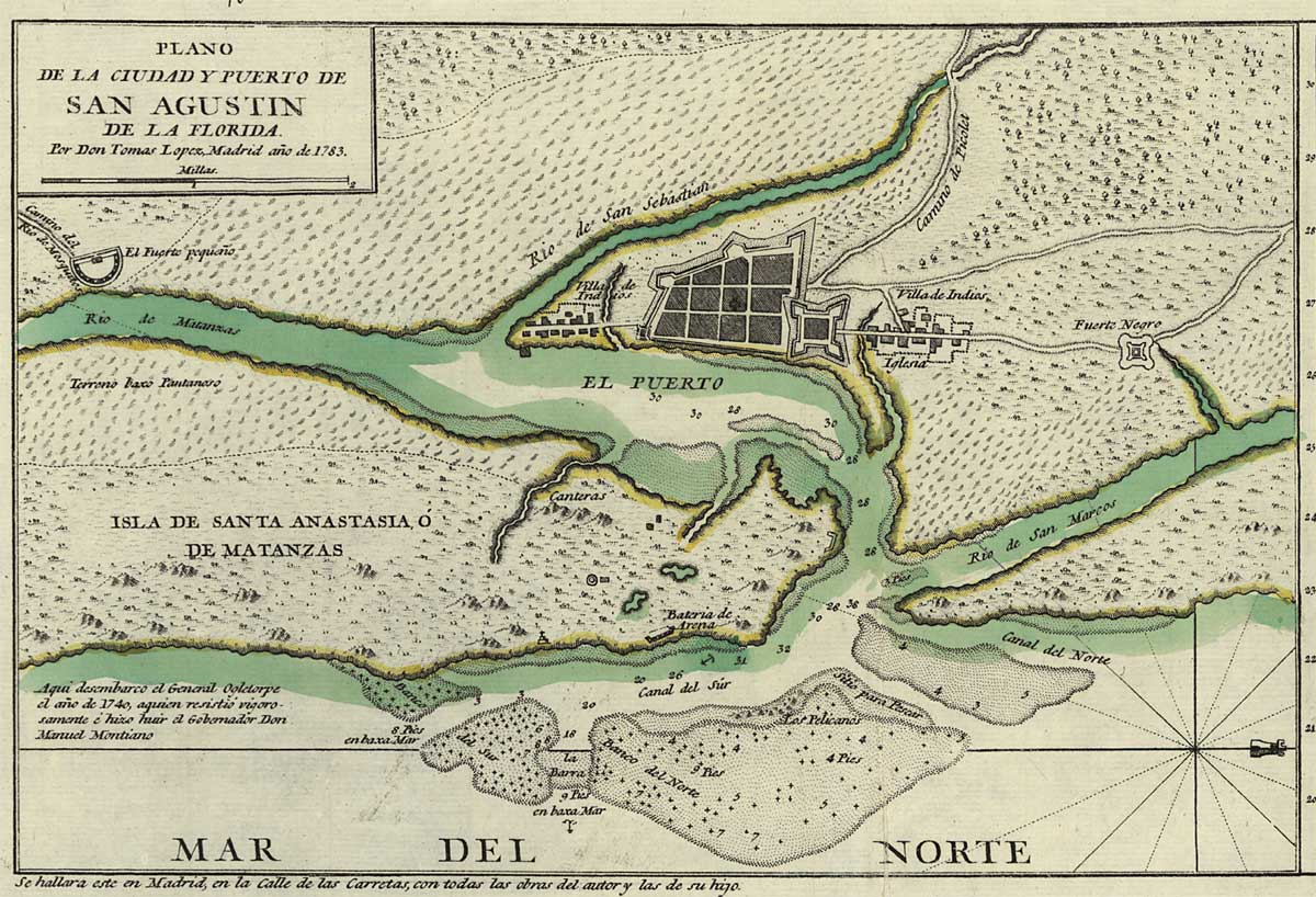 1783 map of St. Augustine