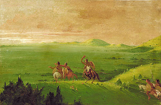Comanche War Party at sunrise, by Catlin