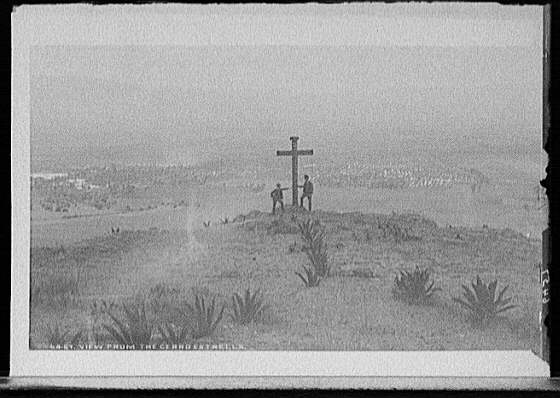 View of a cross above Mexico City circa 1880