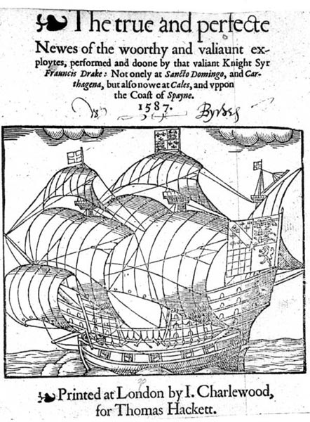 Title page, Drake's true and perfecte voyage, 1587