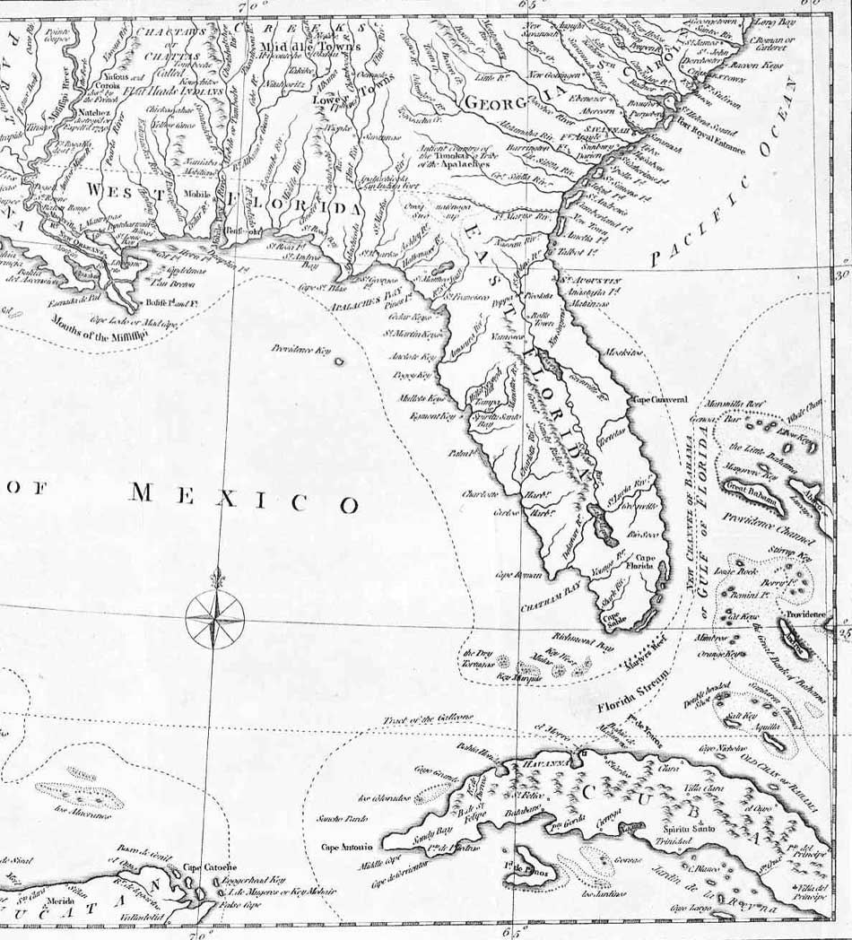 Florida And Georgia Map.Detail From 1781 Map Of Georgia Florida And Louisiana Enlarged