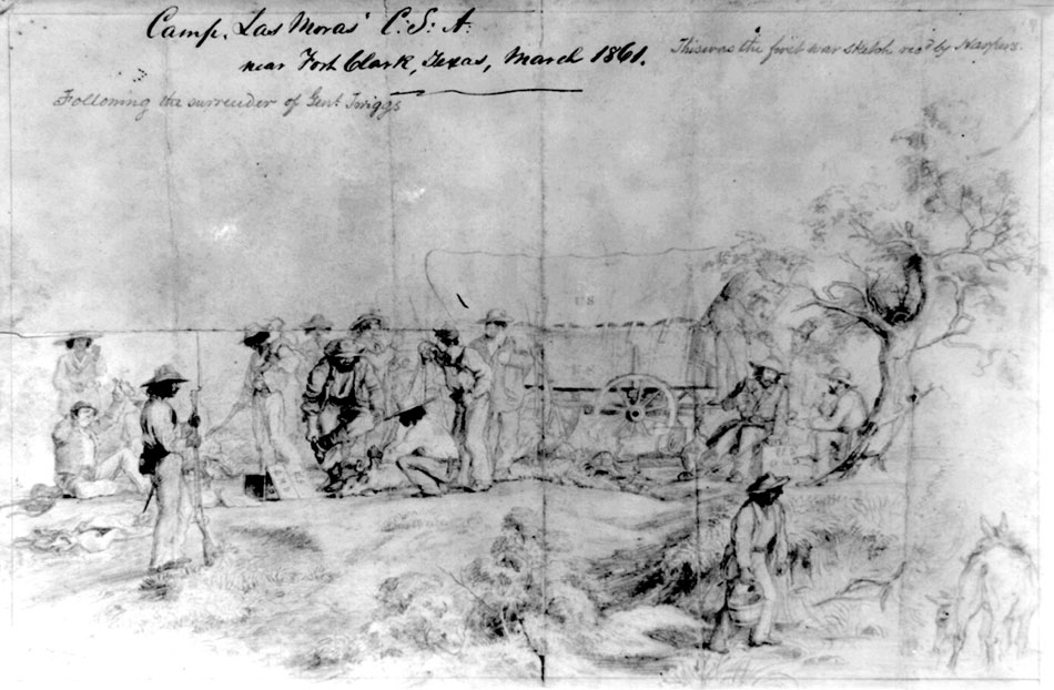 1861 sketch of army camp at Las Moras Springs, Fort Clark, Texas