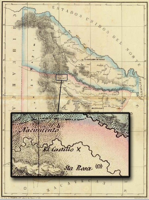 1858 map showing location of Nacimiento, Coahuila