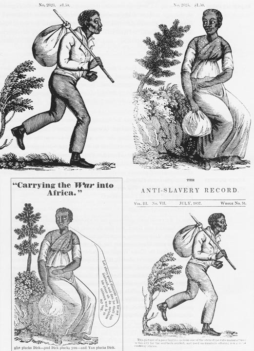 Type specimens of runaway slaves, and the ads they were used to depict them