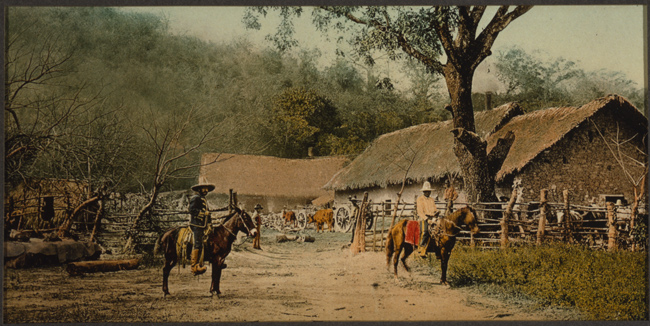 Color photoprint of Mexican Hacienda, circa 1880-1897