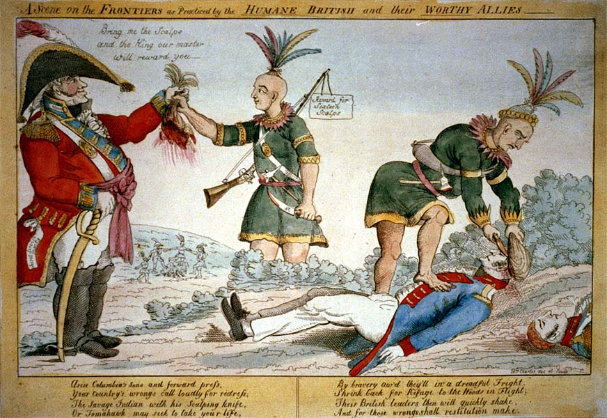 A scene on the frontiers, anti-British cartoon from 1812